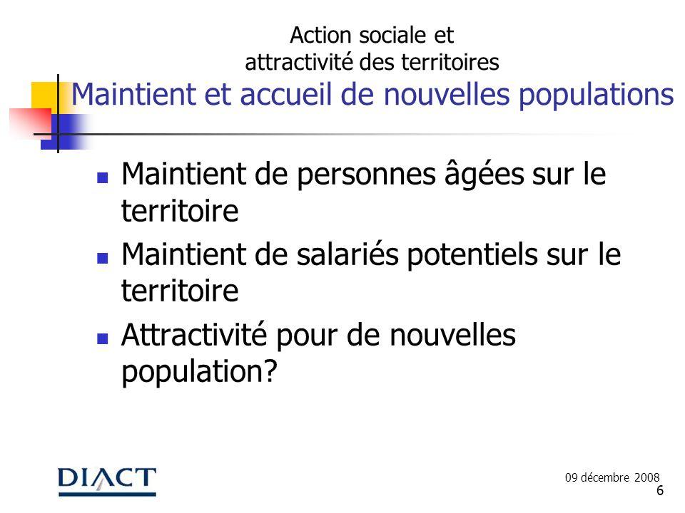 6 Action sociale et attractivité des territoires Maintient et accueil de nouvelles populations Maintient de personnes âgées sur le territoire Maintient de salariés potentiels sur le territoire Attractivité pour de nouvelles population.