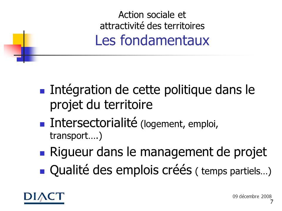 7 Action sociale et attractivité des territoires Les fondamentaux Intégration de cette politique dans le projet du territoire Intersectorialité (logem