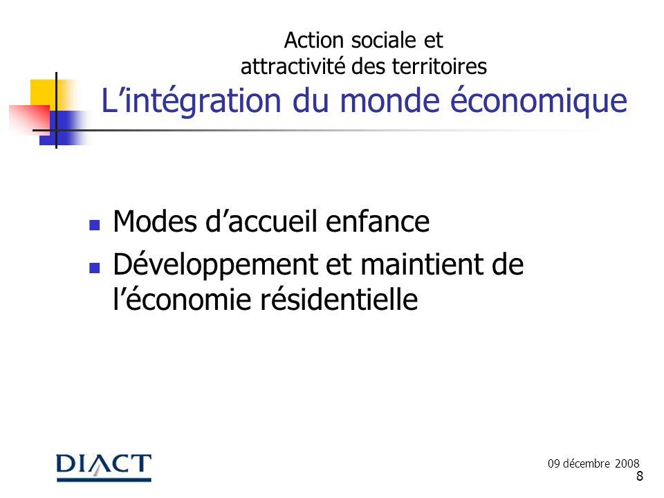 8 Action sociale et attractivité des territoires Lintégration du monde économique Modes daccueil enfance Développement et maintient de léconomie résidentielle 09 décembre 2008
