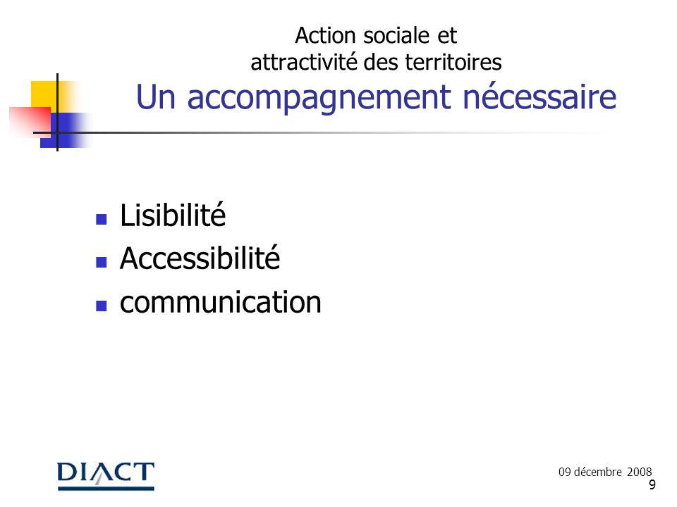9 Action sociale et attractivité des territoires Un accompagnement nécessaire Lisibilité Accessibilité communication 09 décembre 2008