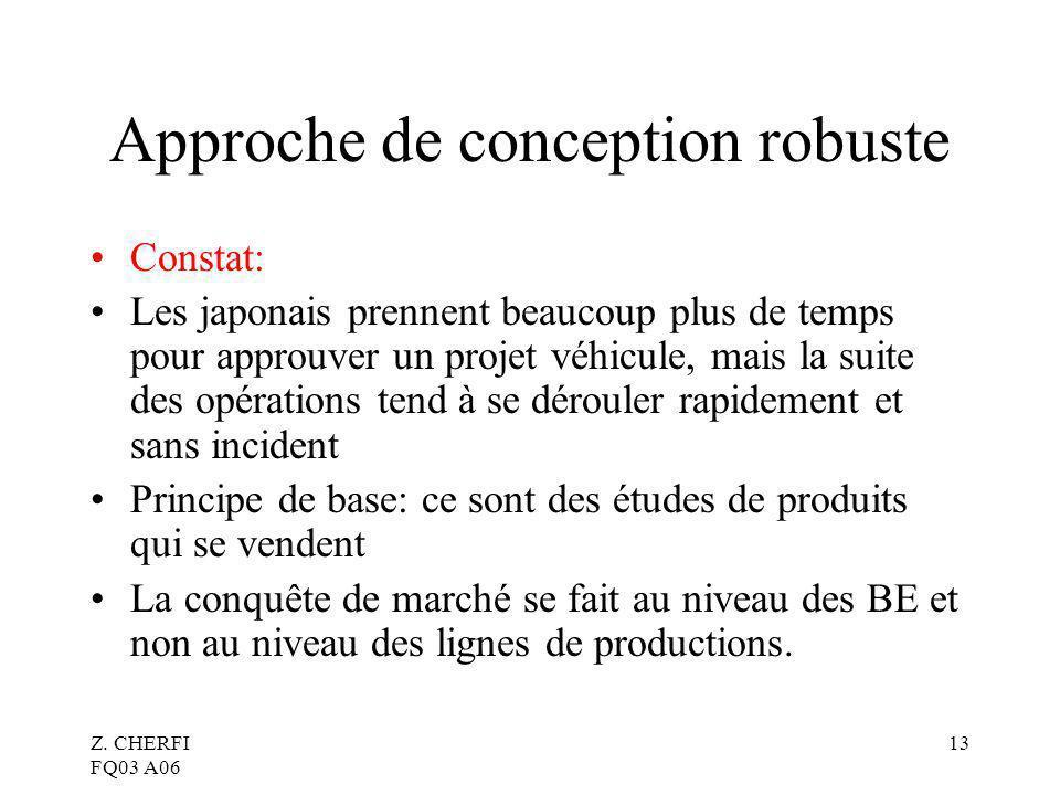 Z. CHERFI FQ03 A06 13 Approche de conception robuste Constat: Les japonais prennent beaucoup plus de temps pour approuver un projet véhicule, mais la