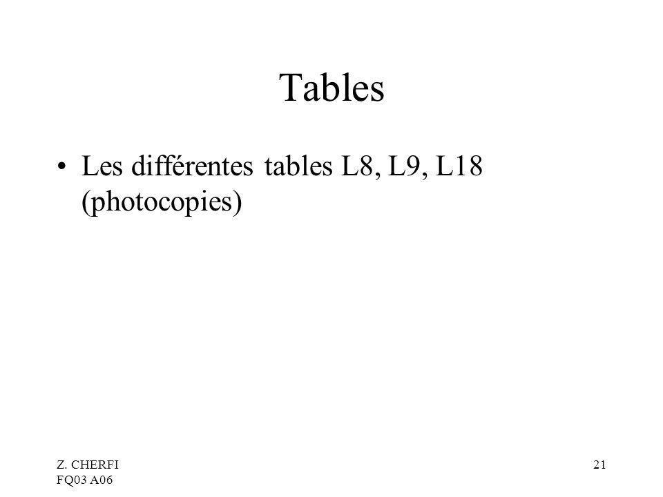 Z. CHERFI FQ03 A06 21 Tables Les différentes tables L8, L9, L18 (photocopies)