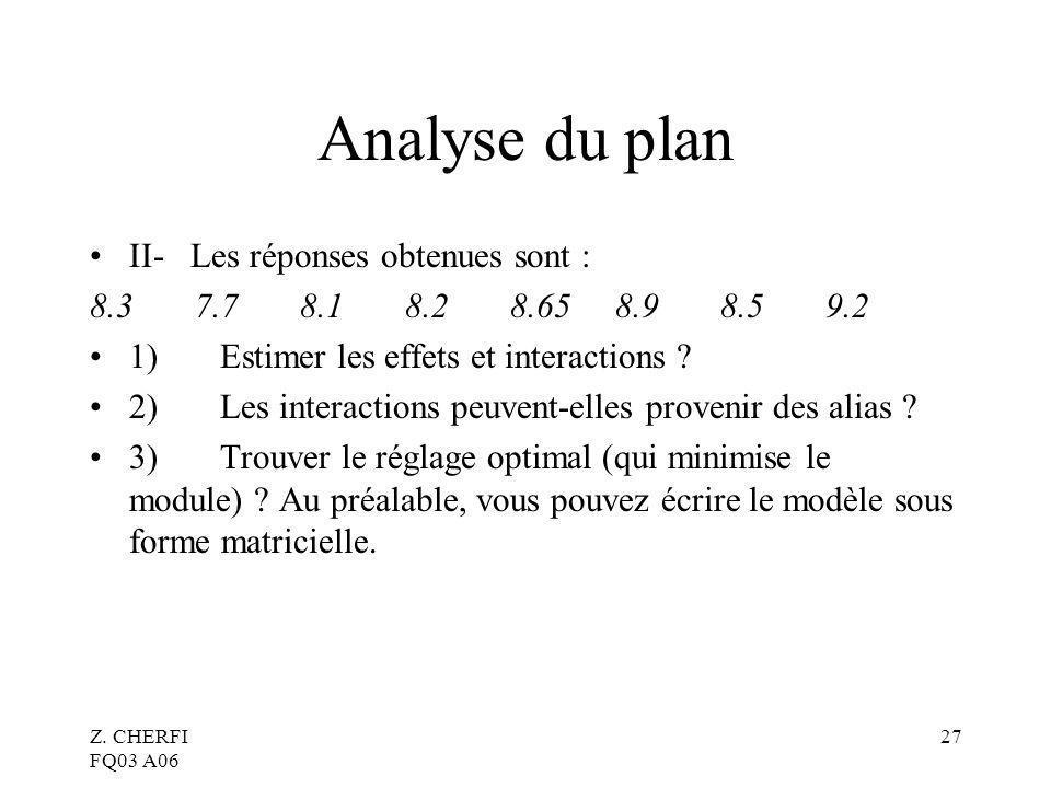 Z. CHERFI FQ03 A06 27 Analyse du plan II- Les réponses obtenues sont : 8.37.78.18.28.658.98.59.2 1) Estimer les effets et interactions ? 2) Les intera