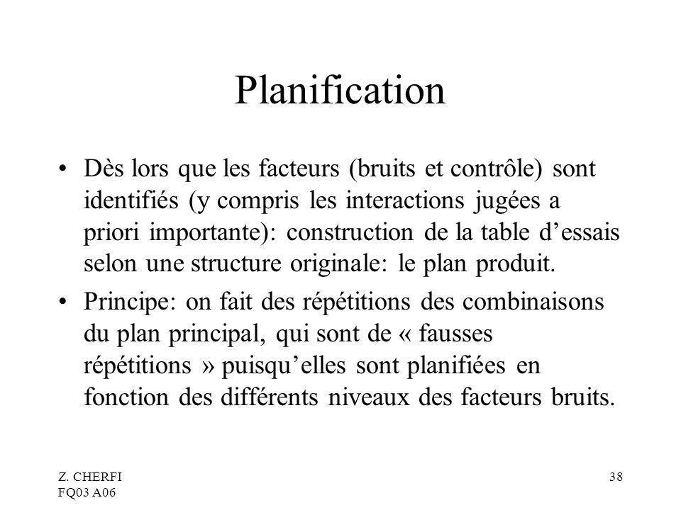 Z. CHERFI FQ03 A06 38 Planification Dès lors que les facteurs (bruits et contrôle) sont identifiés (y compris les interactions jugées a priori importa