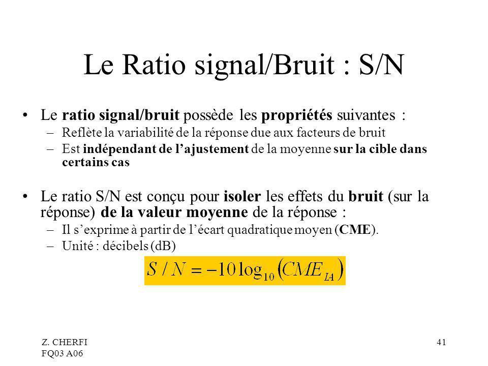 Z. CHERFI FQ03 A06 41 Le Ratio signal/Bruit : S/N Le ratio signal/bruit possède les propriétés suivantes : –Reflète la variabilité de la réponse due a