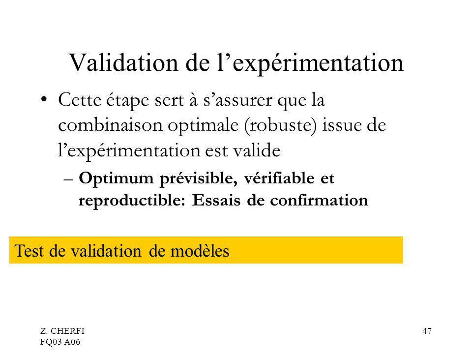 Z. CHERFI FQ03 A06 47 Validation de lexpérimentation Cette étape sert à sassurer que la combinaison optimale (robuste) issue de lexpérimentation est v