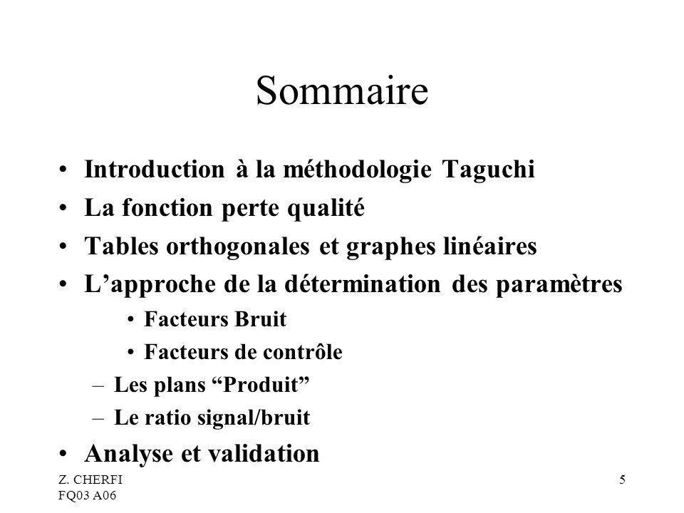 Z. CHERFI FQ03 A06 5 Sommaire Introduction à la méthodologie Taguchi La fonction perte qualité Tables orthogonales et graphes linéaires Lapproche de l
