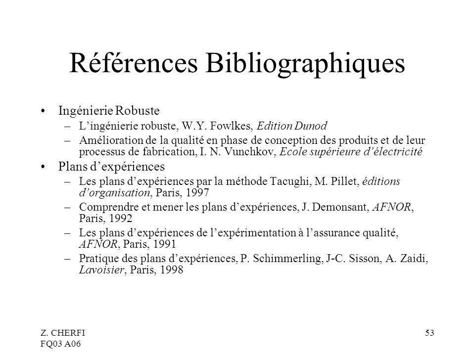 Z.CHERFI FQ03 A06 53 Références Bibliographiques Ingénierie Robuste –Lingénierie robuste, W.Y.