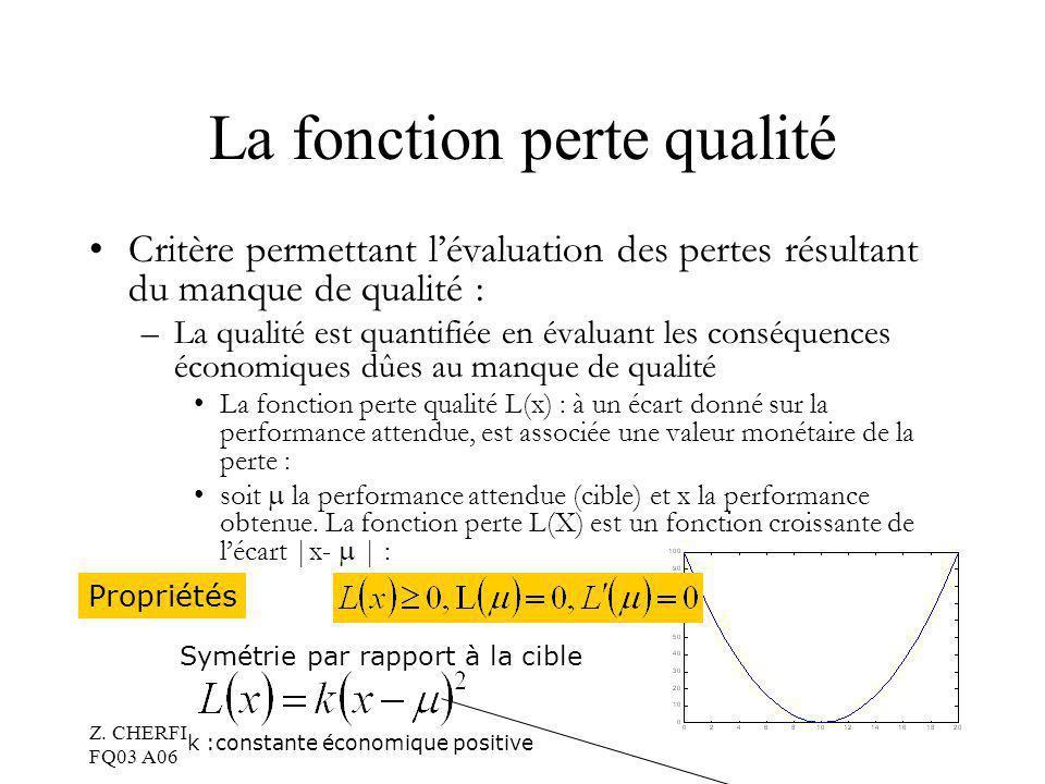 Z. CHERFI FQ03 A06 8 La fonction perte qualité Critère permettant lévaluation des pertes résultant du manque de qualité : –La qualité est quantifiée e