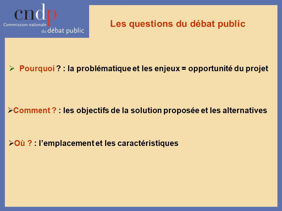 Les questions du débat public Pourquoi ? : la problématique et les enjeux = opportunité du projet Comment ? : les objectifs de la solution proposée et
