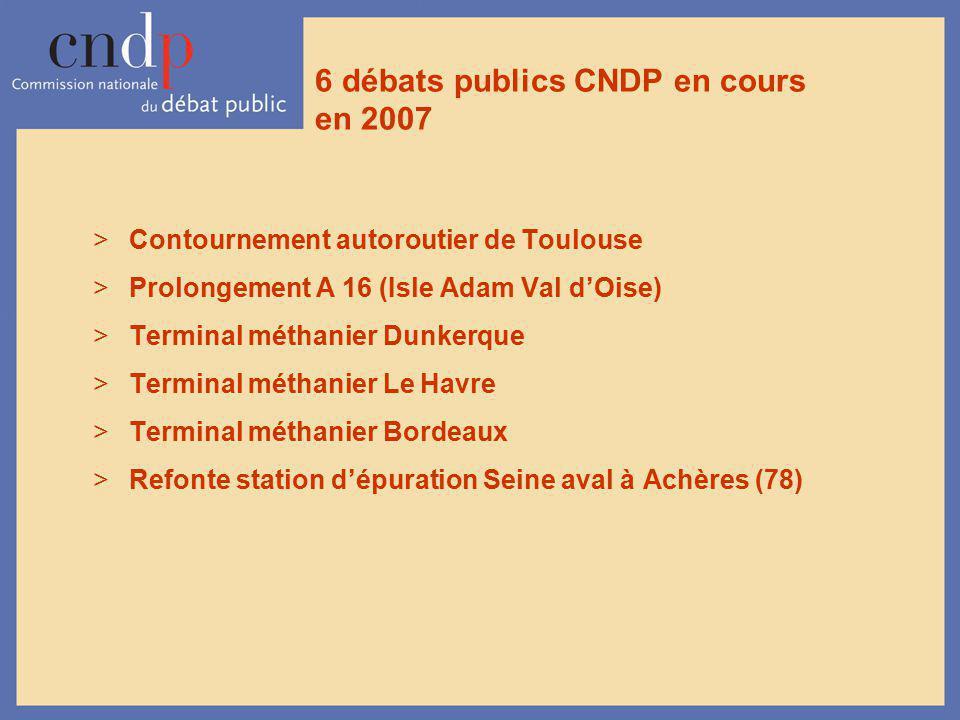 6 débats publics CNDP en cours en 2007 >Contournement autoroutier de Toulouse >Prolongement A 16 (Isle Adam Val dOise) >Terminal méthanier Dunkerque >