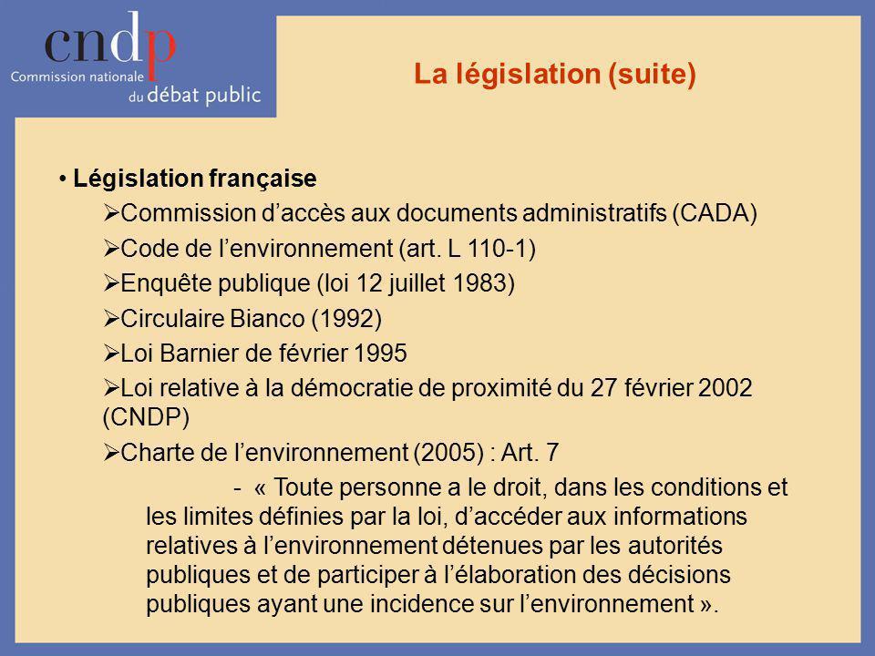 La législation (suite) Législation française Commission daccès aux documents administratifs (CADA) Code de lenvironnement (art. L 110-1) Enquête publi