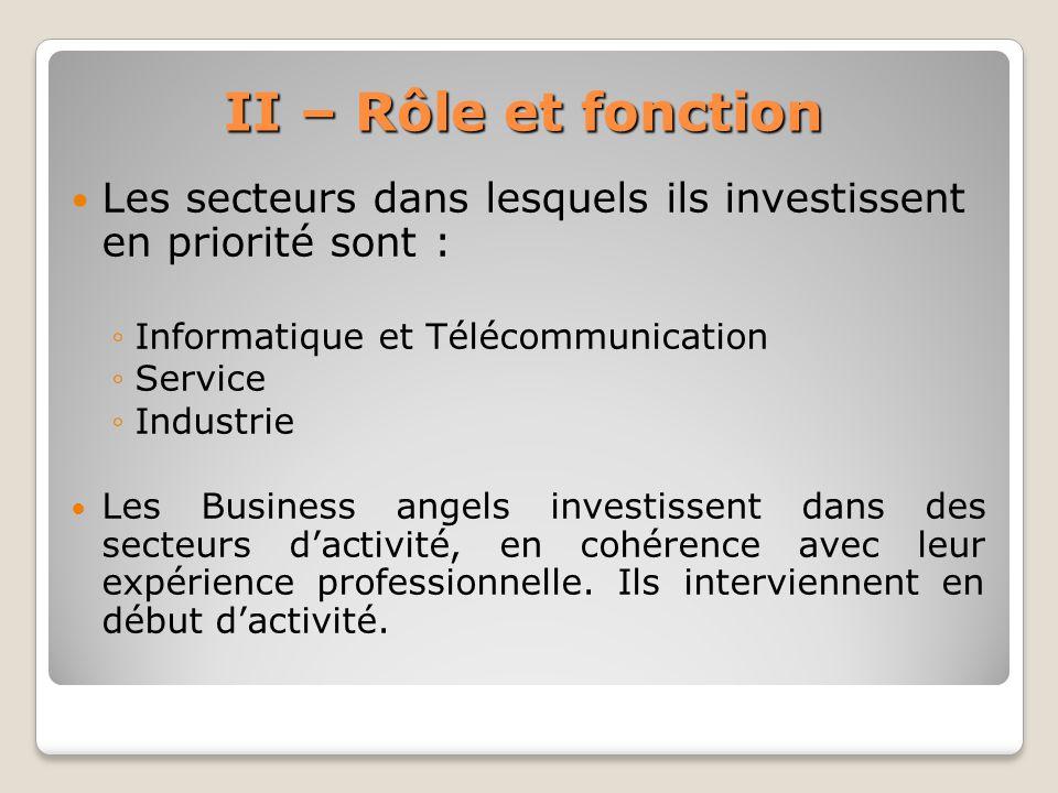 II – Rôle et fonction Les secteurs dans lesquels ils investissent en priorité sont : Informatique et Télécommunication Service Industrie Les Business