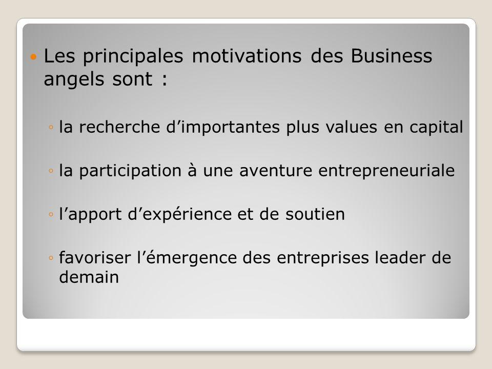 Les principales motivations des Business angels sont : la recherche dimportantes plus values en capital la participation à une aventure entrepreneuria