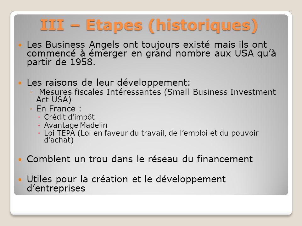 III – Etapes (historiques) Les Business Angels ont toujours existé mais ils ont commencé à émerger en grand nombre aux USA quà partir de 1958. Les rai