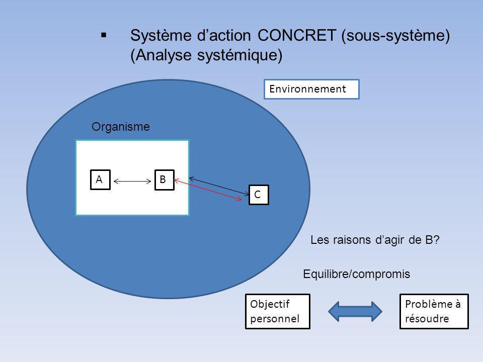 Environnement Organisme AB C Système daction CONCRET (sous-système) (Analyse systémique) Objectif personnel Problème à résoudre Equilibre/compromis Les raisons dagir de B?