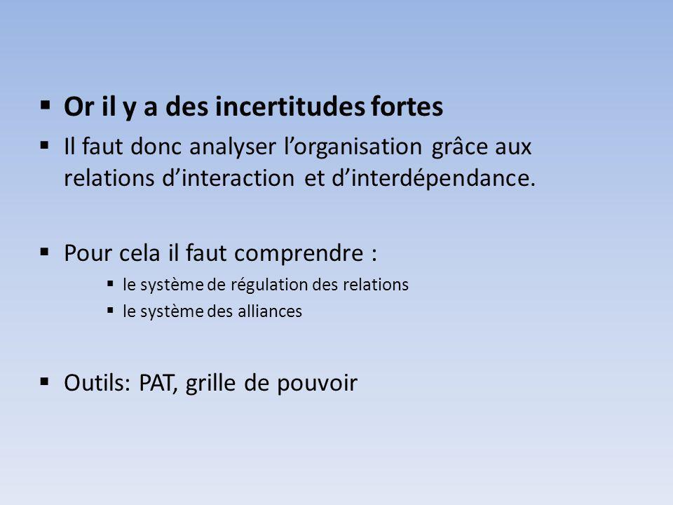 Or il y a des incertitudes fortes Il faut donc analyser lorganisation grâce aux relations dinteraction et dinterdépendance.