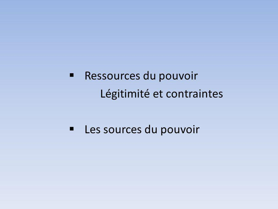 Ressources du pouvoir Légitimité et contraintes Les sources du pouvoir