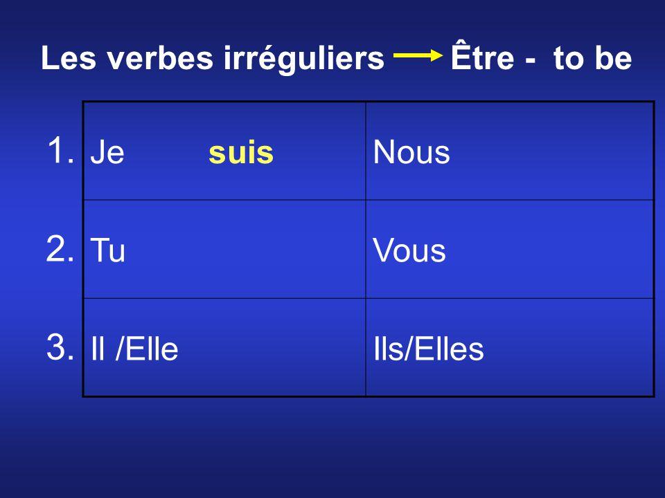 Je suisNous TuVous Il /ElleIls/Elles 1. 2. 3. Les verbes irréguliers Être - to be