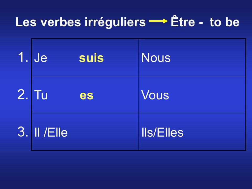 Je suisNous Tu esVous Il /ElleIls/Elles 1. 2. 3. Les verbes irréguliers Être - to be