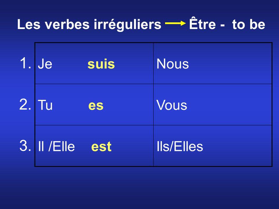 Je suisNous Tu esVous Il /Elle estIls/Elles 1. 2. 3. Les verbes irréguliers Être - to be
