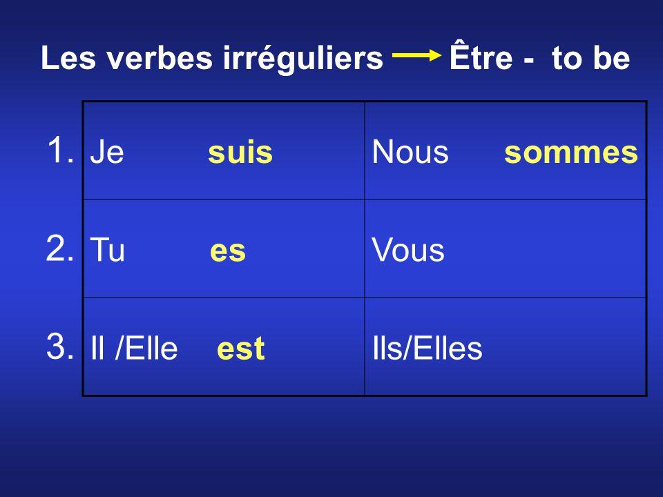 Je suisNous sommes Tu esVous Il /Elle estIls/Elles 1. 2. 3. Les verbes irréguliers Être - to be