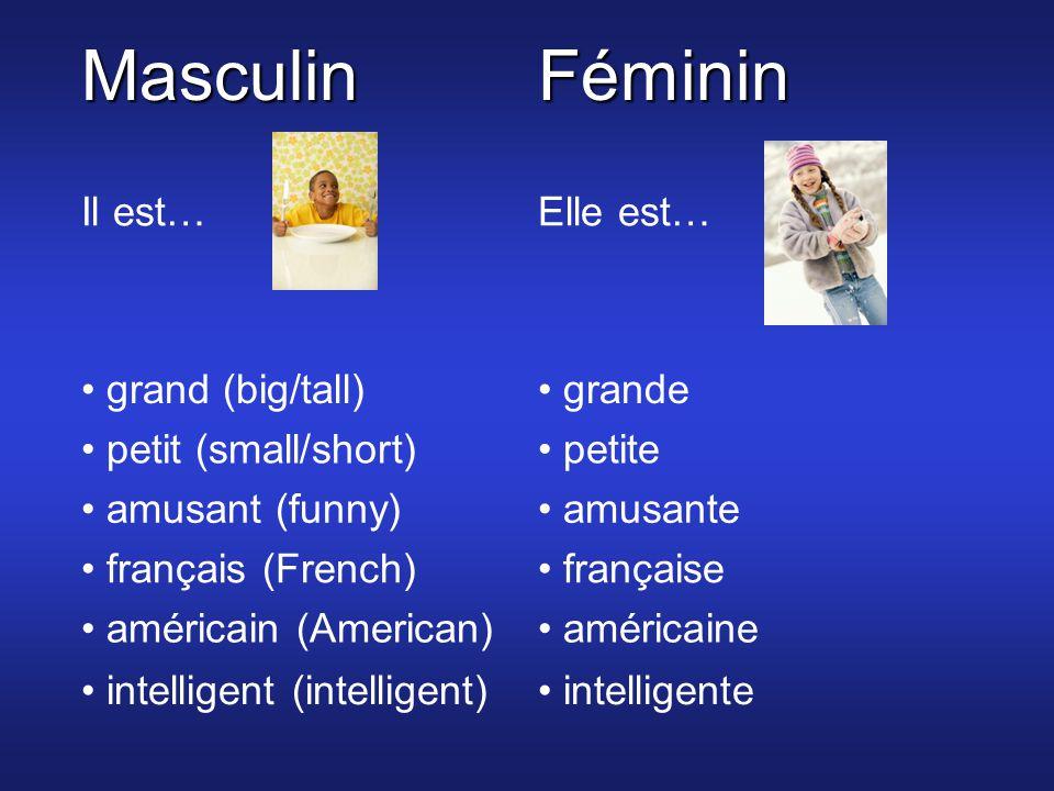 MasculinFéminin Il est…Elle est… grand (big/tall) grande petit (small/short) petite amusant (funny) amusante français (French) française américain (American) américaine intelligent (intelligent) intelligente