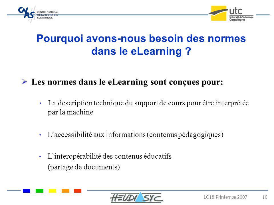 LO18 Printemps 2007 10 Pourquoi avons-nous besoin des normes dans le eLearning ? La description technique du support de cours pour être interprétée pa