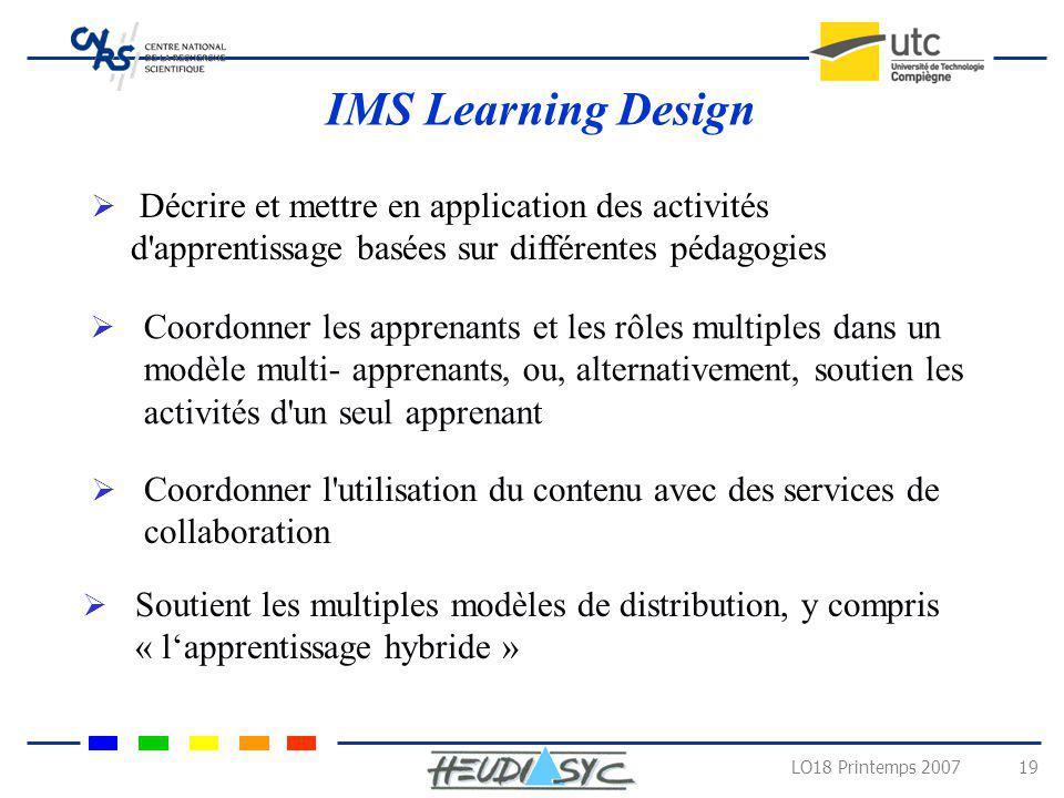 LO18 Printemps 2007 19 IMS Learning Design Décrire et mettre en application des activités d'apprentissage basées sur différentes pédagogies Coordonner