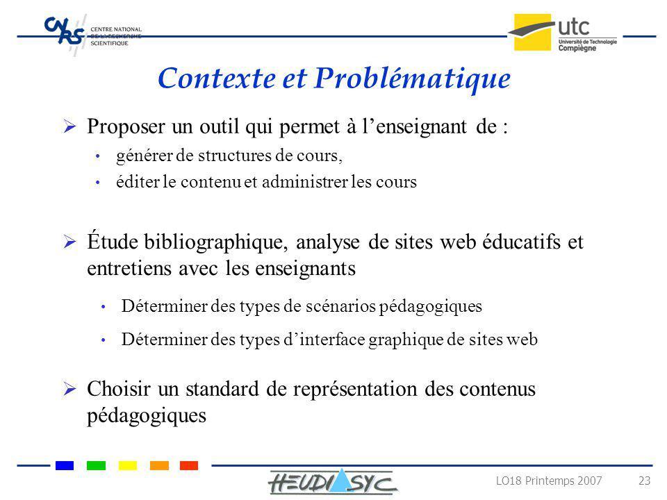 LO18 Printemps 2007 23 Contexte et Problématique Proposer un outil qui permet à lenseignant de : générer de structures de cours, éditer le contenu et