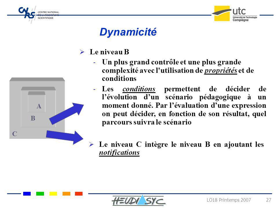 LO18 Printemps 2007 27 C B A Le niveau B - Un plus grand contrôle et une plus grande complexité avec l'utilisation de propriétés et de conditions - Le