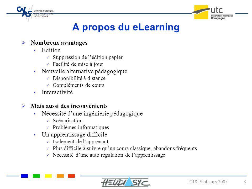 LO18 Printemps 2007 4 Self Regulated Learning Une boucle de trois étapes dans lapprentissage Planification (planning) Suivi (monitoring) Evaluation (Assessment) Quatre aspects à prendre en compte Cognitifs Motivationnel Emotionnel Social
