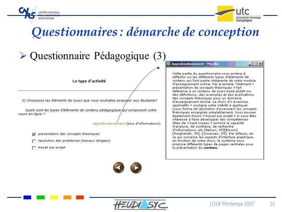 LO18 Printemps 2007 31 Questionnaires : démarche de conception Questionnaire Pédagogique (3)
