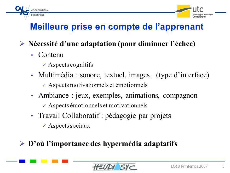 LO18 Printemps 2007 5 Meilleure prise en compte de lapprenant Nécessité dune adaptation (pour diminuer léchec) Contenu Aspects cognitifs Multimédia :