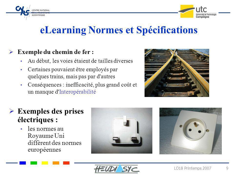 LO18 Printemps 2007 9 eLearning Normes et Spécifications Exemple du chemin de fer : Au début, les voies étaient de tailles diverses Certaines pouvaien