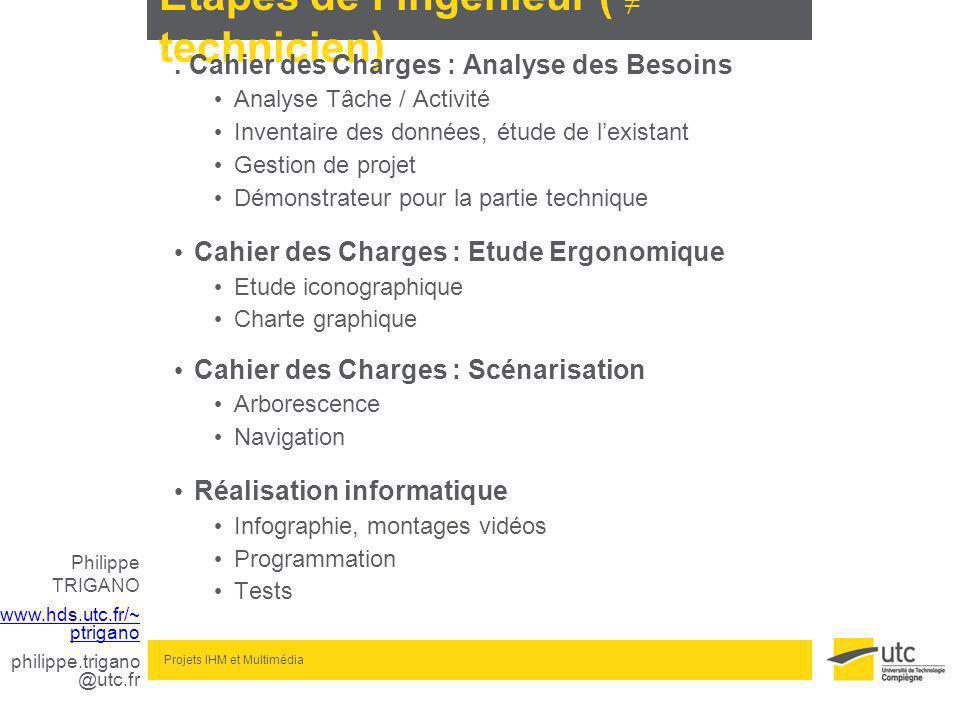 Philippe TRIGANO www.hds.utc.fr/~ ptrigano philippe.trigano @utc.fr Projets IHM et Multimédia Etapes de lingénieur ( technicien).