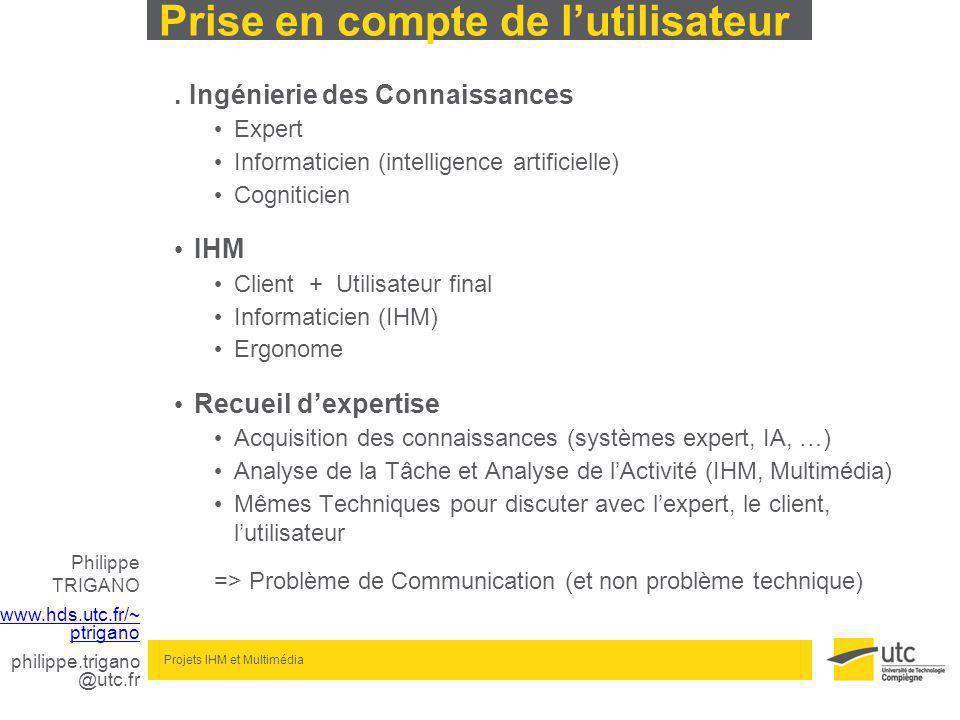 Philippe TRIGANO www.hds.utc.fr/~ ptrigano philippe.trigano @utc.fr Projets IHM et Multimédia Prise en compte de lutilisateur.