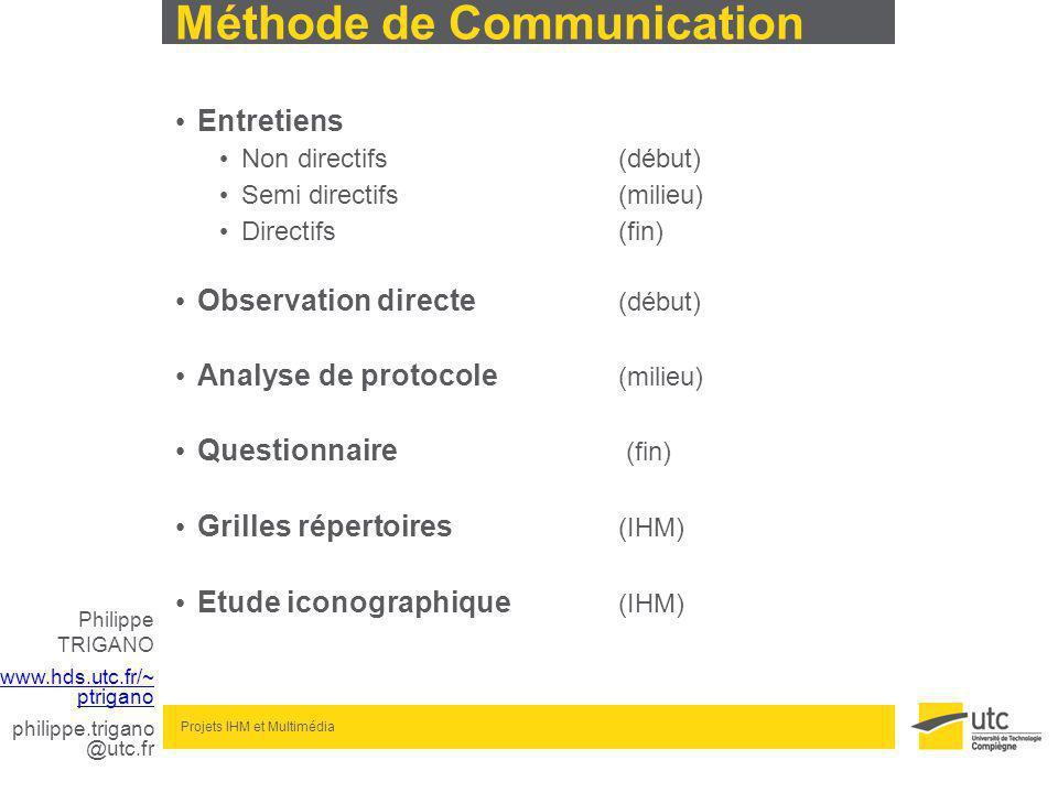 Philippe TRIGANO www.hds.utc.fr/~ ptrigano philippe.trigano @utc.fr Projets IHM et Multimédia Méthode de Communication Entretiens Non directifs(début) Semi directifs(milieu) Directifs(fin) Observation directe (début) Analyse de protocole (milieu) Questionnaire (fin) Grilles répertoires (IHM) Etude iconographique (IHM)