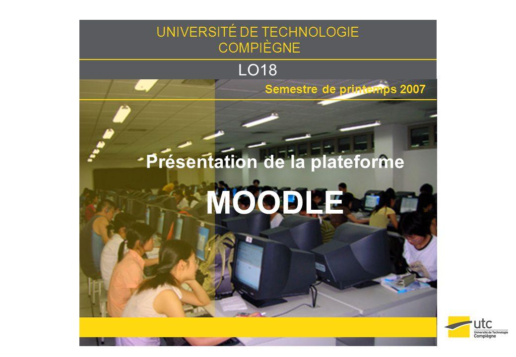 LO18/UTC / 202 Présentation de Moodle Plate-forme dapprentissage en ligne Logiciel Open Source Système de gestion de contenus (CMS) Fonctions pédagogiques et communicatives (LMS) Types dutilisation de Moodle Dépôt de ressources Communication avec les étudiants et entre étudiants Évaluation en ligne = LCMS