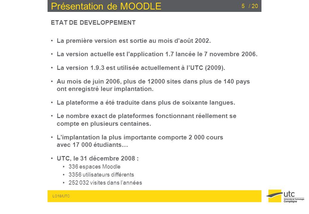 LO18/UTC / 205 Présentation de MOODLE ETAT DE DEVELOPPEMENT La première version est sortie au mois d'août 2002. La version actuelle est l'application