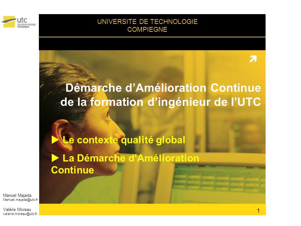 UNIVERSITE DE TECHNOLOGIE COMPIEGNE Démarche dAmélioration Continue de la formation dingénieur de lUTC Le contexte qualité global La Démarche dAmélior