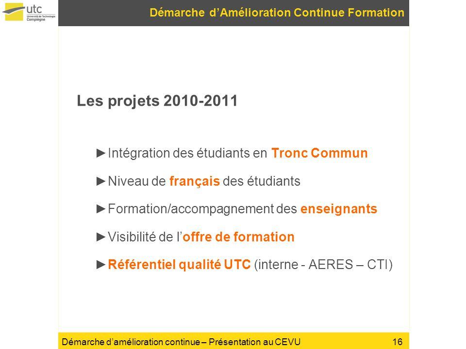 Démarche damélioration continue – Présentation au CEVU Les projets 2010-2011 Intégration des étudiants en Tronc Commun Niveau de français des étudiant