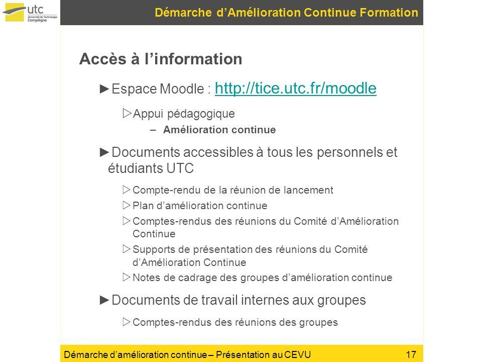 Démarche damélioration continue – Présentation au CEVU Accès à linformation Espace Moodle : http://tice.utc.fr/moodle http://tice.utc.fr/moodle Appui