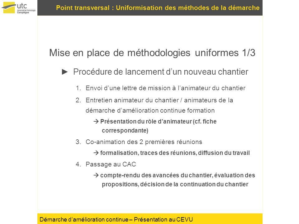Démarche damélioration continue – Présentation au CEVU Point transversal : Uniformisation des méthodes de la démarche Mise en place de méthodologies u