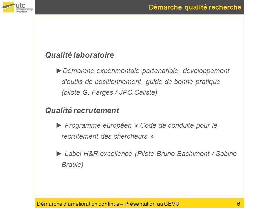 Démarche damélioration continue – Présentation au CEVU Démarche qualité recherche Qualité laboratoire Démarche expérimentale partenariale, développeme
