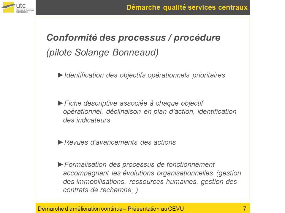 Démarche damélioration continue – Présentation au CEVU Démarche qualité services centraux Conformité des processus / procédure (pilote Solange Bonneau