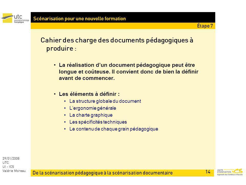 De la scénarisation pédagogique à la scénarisation documentaire 14 29/01/2008 UTC UI - ICS Valérie Moreau Scénarisation pour une nouvelle formation Cahier des charge des documents pédagogiques à produire : La réalisation dun document pédagogique peut être longue et coûteuse.