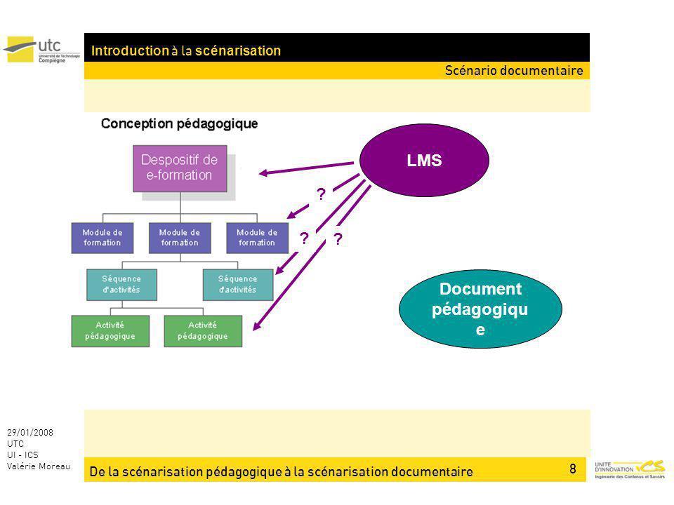 De la scénarisation pédagogique à la scénarisation documentaire 8 29/01/2008 UTC UI - ICS Valérie Moreau Introduction à la scénarisation LMS Document