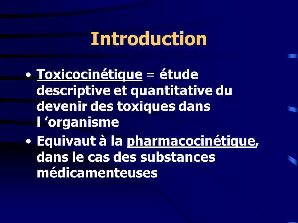 Introduction Toxicocinétique = étude descriptive et quantitative du devenir des toxiques dans l organisme Equivaut à la pharmacocinétique, dans le cas des substances médicamenteuses