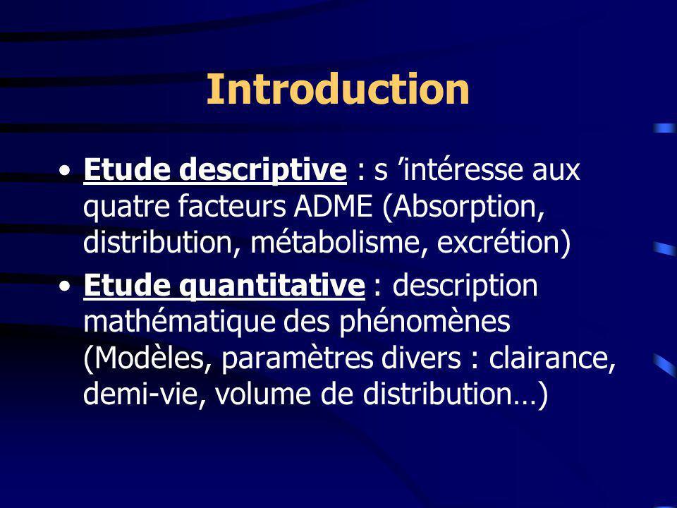 Introduction Etude descriptive : s intéresse aux quatre facteurs ADME (Absorption, distribution, métabolisme, excrétion) Etude quantitative : description mathématique des phénomènes (Modèles, paramètres divers : clairance, demi-vie, volume de distribution…)